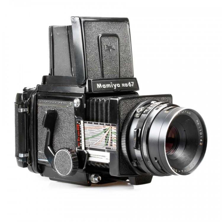 Câmera analógica médio-formato Mamiya RB67 Pro-S com lente 127mm f3.8 - USADA