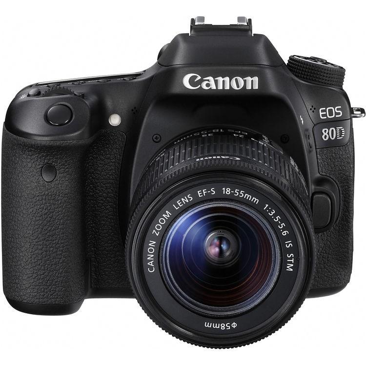 Câmera DSLR Canon EOS 80D com lente 18-55mm IS USM