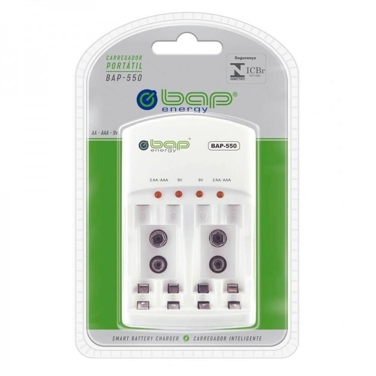 Carregador de pilhas Bap Energy BAP-500 para pilhas AA, AAA e 9V