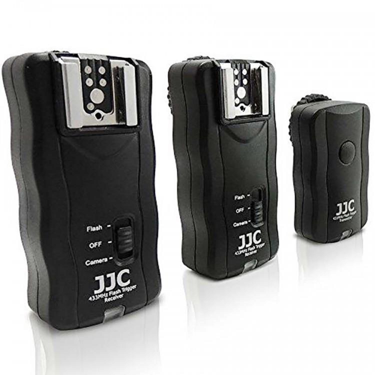 Radio Flash JJC JF-U2 3 em 1 - Kit com 1 transmissor e 2 receptores