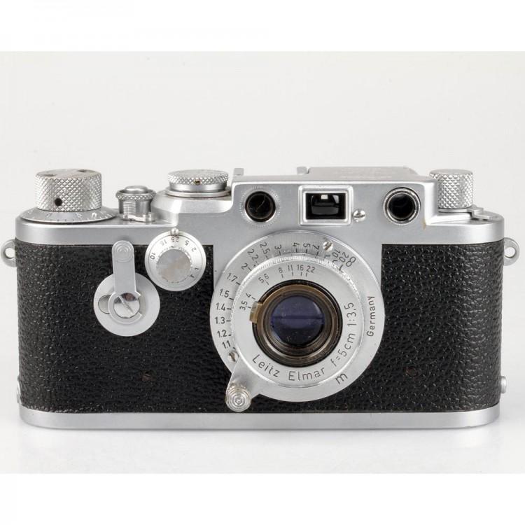 Câmera analógica 35mm Leica III F com lente Elmar 50mm f3.5 - USADA