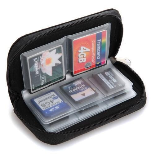Estojo para cartão de memória estilo carteira com zíper - acomoda 18 cartões SD e 4 cartões CF