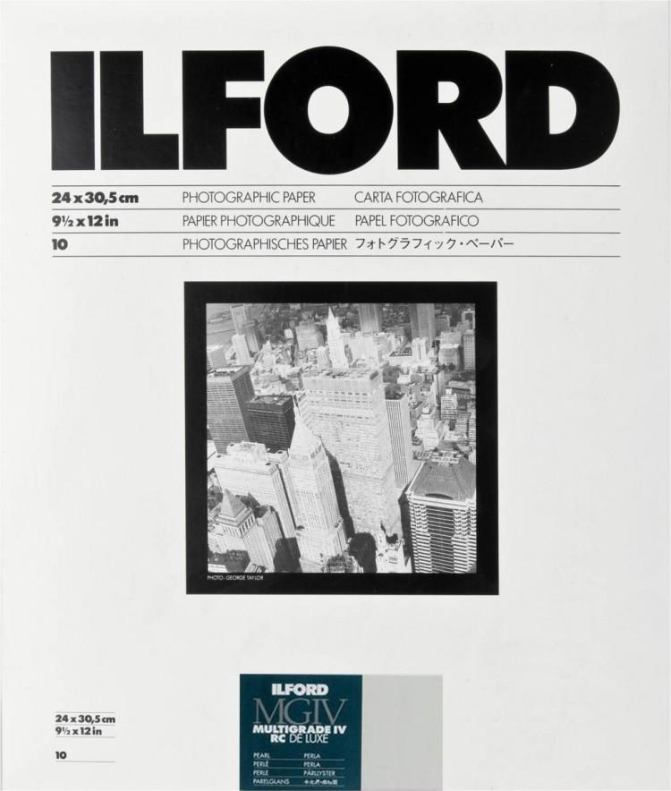 Papel Fotográfico Preto e Branco Ilford Multigrade IV RC Deluxe 24x30cm - 10 folhas (Pérola)