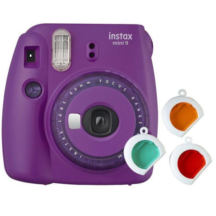 Câmera Instantânea Fujifilm Instax mini 9 ROXO AÇAÍ + filtros coloridos