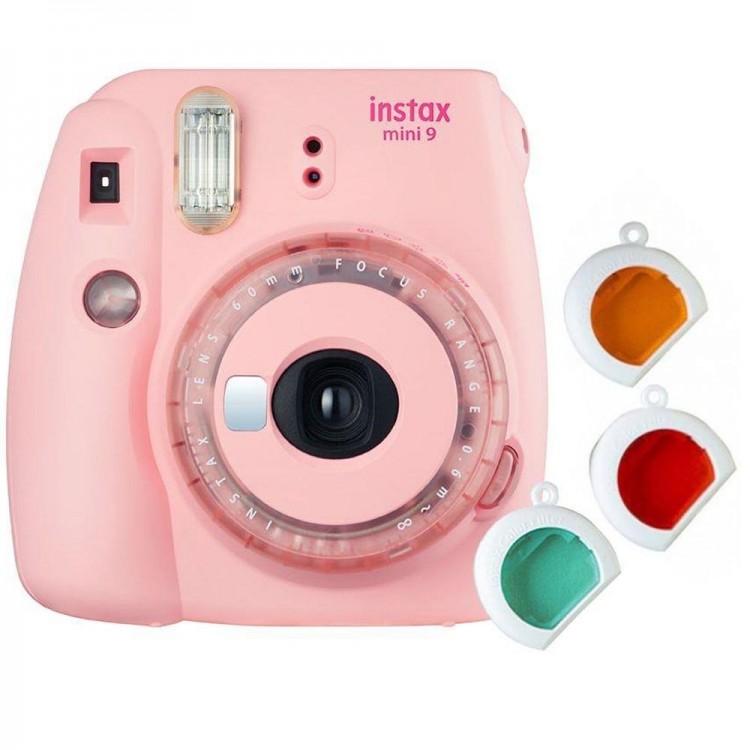 Câmera Instantânea Fujifilm Instax mini 9 ROSA CHICLÉ + filtros coloridos
