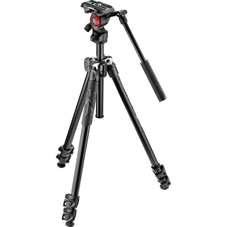 Tripé Manfrotto 290 Light com cabeça para vídeo Befree Live MVH400AH (Kit MK290LTA-3V)