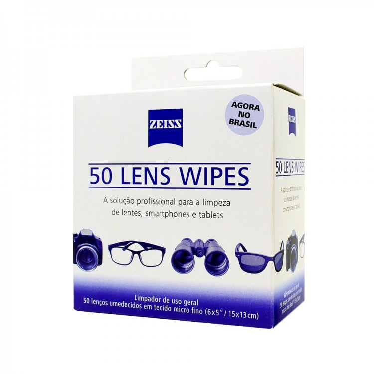 Lenços umedecidos Zeiss Lens Wipes para limpeza ótica geral - 50 un.