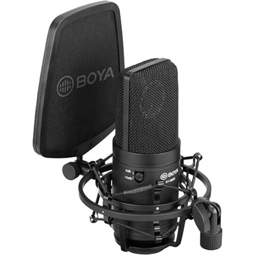 Microfone cardioide condensador Boya BY-M800 para estúdio