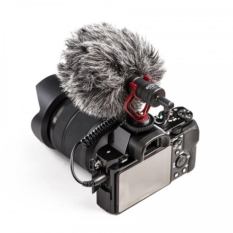 Microfone cardióide compacto Boya BY-MM1 para smartphone, PC, tablet, filmadora e câmera DSLR