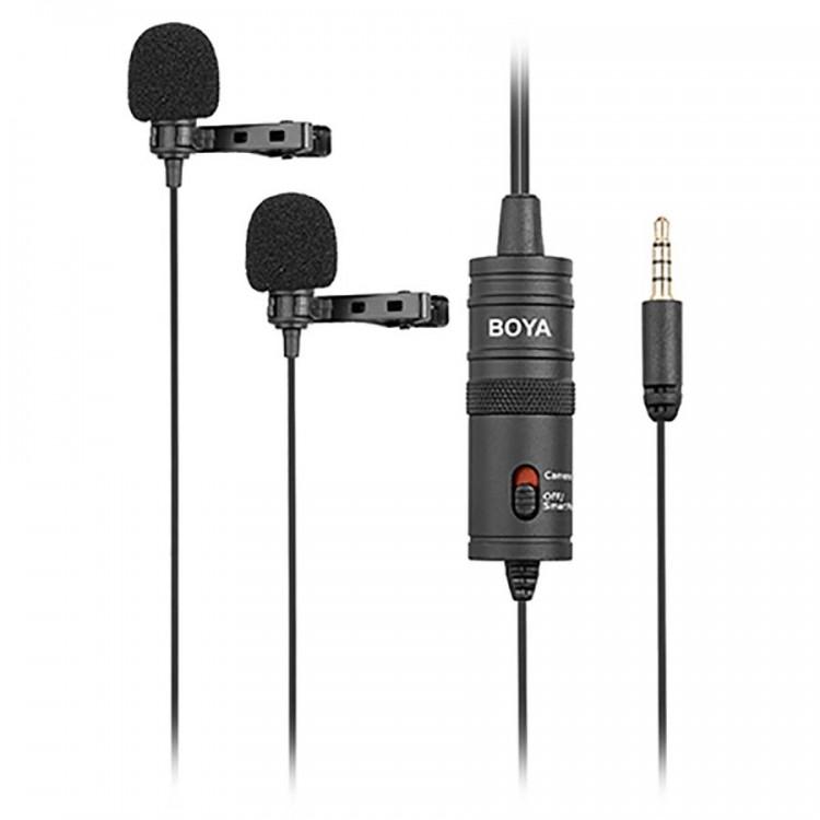 Microfone de lapela duplo Boya BY-M1DM para câmeras, smartphones, computadores e gravadores de áudio
