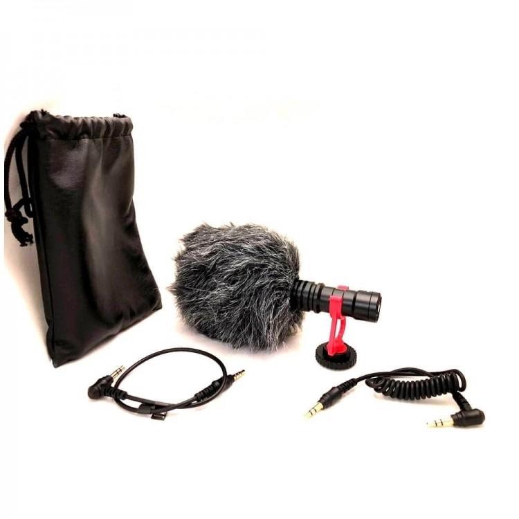 Microfone cardioide compacto Greika GK-VM01 para smartphone, PC, tablet, filmadora e câmera DSLR