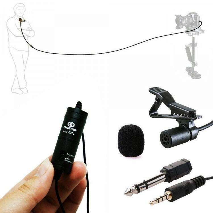 Microfone de lapela Greika GK-LM1 para câmeras, smartphones, computadores e gravadores de áudio