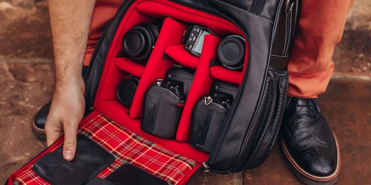 Mochila de couro legítimo Nordweg NW055C-IP Italiano Preto para fotógrafos