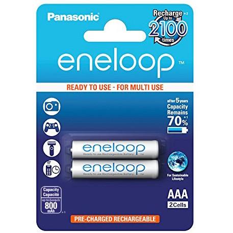 Pilha AAA recarregável Panasonic Eneloop 800mAh - Cartela com 2 unidades