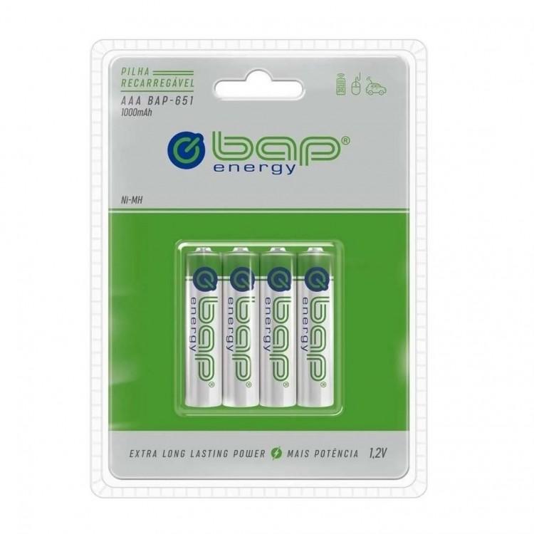 Pilha AAA recarregável bap-energy BAP-651 1000mAh 1.2V - cartela com 4 unidades