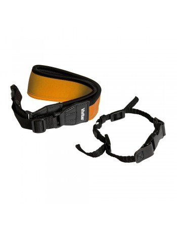 Alça de pescoço em Neoprene Vivitar VIVSLRSTP para câmera DSLR (LARANJA)