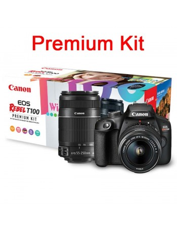 Câmera DSLR Canon EOS Rebel T100 PREMIUM KIT com lente 18-55mm III + lente 55-250mm IS II