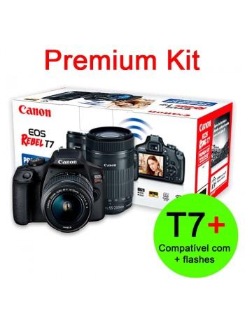 Câmera DSLR Canon EOS Rebel T7+ Plus PREMIUM KIT com lente 18-55mm IS II + 55-250mm IS II