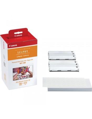 Kit papel e tinta Canon RP-108 para impressoras SELPHY (108 folhas)