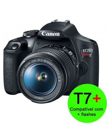Câmera DSLR Canon EOS Rebel T7+ Plus com lente 18-55mm IS II