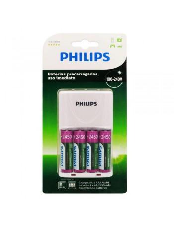 Carregador de pilhas Philips SCB2445NB com 4 pilhas AA 2450mAh