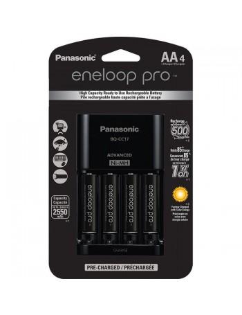 Carregador de pilhas Panasonic eneloop pro com 4 pilhas AA 2550mAh