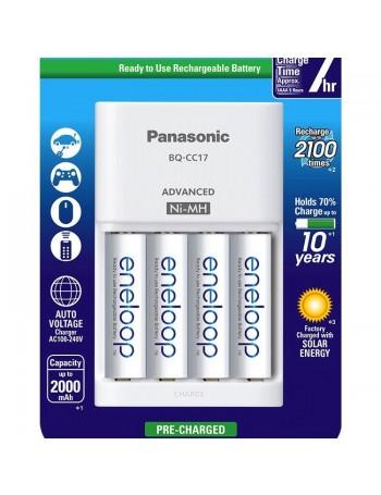 Carregador de pilhas Panasonic eneloop com 4 pilhas AA 2000mAh