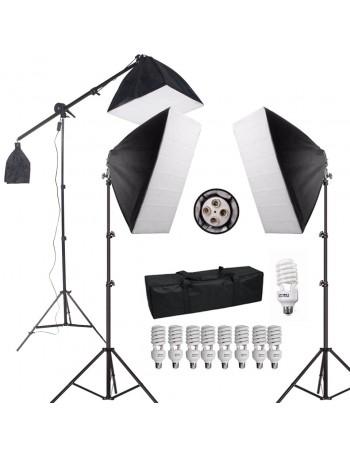 Kit de Iluminação contínua Greika EROS PK-SB03 com 9 lâmpadas e haste girafa (110V)