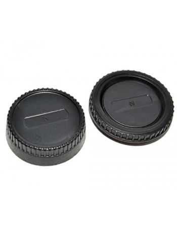 Kit com tampas de proteção (traseira da lente + corpo da câmera) Greika RBC04 para sistema Nikon F