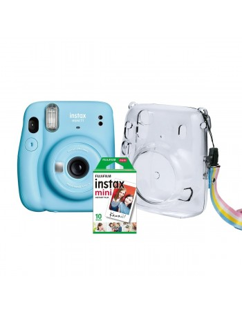 Kit câmera Instantânea Fujifilm instax mini 11 AZUL + estojo + filme com 10 fotos