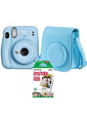 Kit câmera Instantânea Fujifilm instax mini 11 AZUL + bolsa + filme com 10 fotos