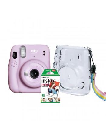 Kit câmera Instantânea Fujifilm instax mini 11 LILÁS + estojo + filme com 10 fotos