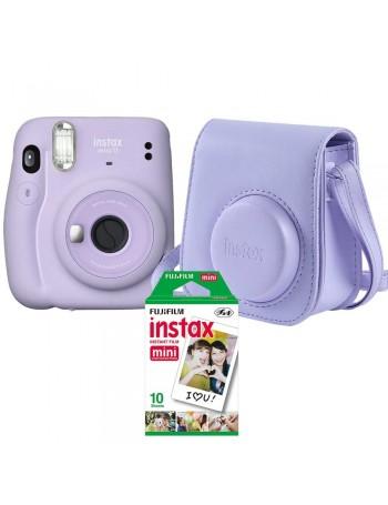 Kit câmera Instantânea Fujifilm instax mini 11 LILÁS + bolsa + filme com 10 fotos