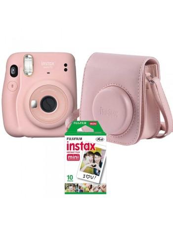 Kit câmera Instantânea Fujifilm instax mini 11 ROSA + bolsa + filme com 10 fotos
