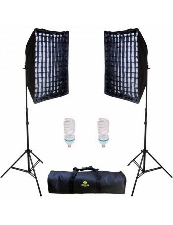 Kit de Iluminação contínua Greika AGATA II com grade e 2 lâmpadas (110V)