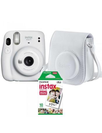 Kit câmera Instantânea Fujifilm instax mini 11 BRANCA + bolsa + filme com 10 fotos