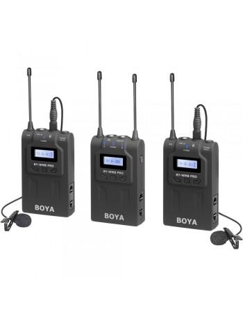 Microfone de lapela sem fio Boya BY-WM8 Pro-K2 UHF Dual Channel - Kit com 1 receptor e 2 transmissores