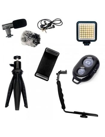Kit de acessórios 6 em 1 Greika para Live e Vlog com microfone e LED
