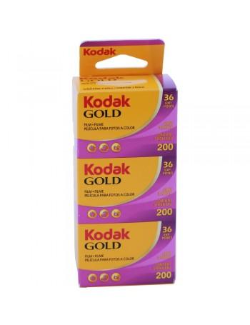 Filme fotográfico 35mm Kodak Gold ISO 200 Colorido 36 poses (caixa com 3 unidades)
