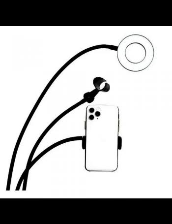 Iluminador de LED Circular Greika AL-06II Ring Light para live com suporte para microfone e para smartphone