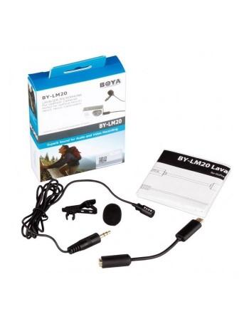 Microfone de lapela Boya BY-LM20 para câmeras + adaptador para câmeras GoPro