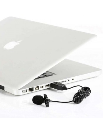 Microfone de lapela USB Greika GK-ULM1 para computador PC ou Mac