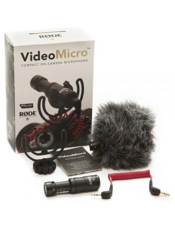 Microfone Rode VideoMicro com montagem em sapata de câmera