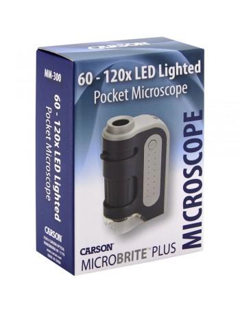 Microscópio de bolso Carson MM-300 MicroBrite Plus (60 a 120x de ampliação)