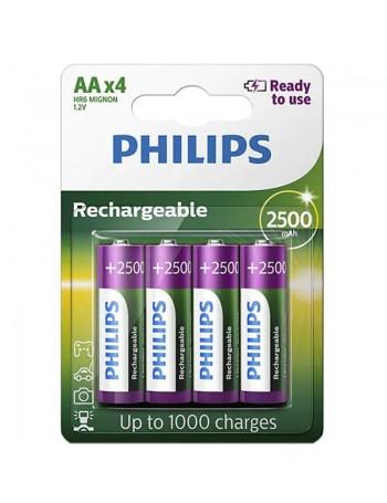Pilha AA recarregável Philips 2500mAh - cartela com 4 unidades