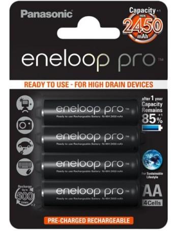 Pilha AA recarregável Panasonic Eneloop Pro 2450mAh - cartela com 4 unidades