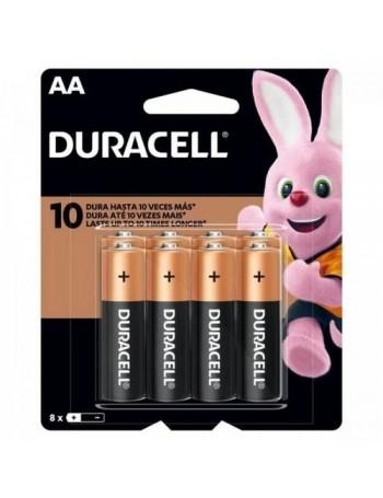 Pilha alcalina Duracell AA - cartela com 8 unidades (MN1500B8)