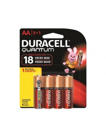 Pilha alcalina Duracell AA Quantum - cartela com 4 unidades