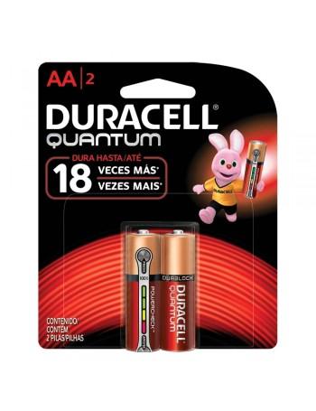 Pilha alcalina Duracell AA Quantum - cartela com 2 unidades