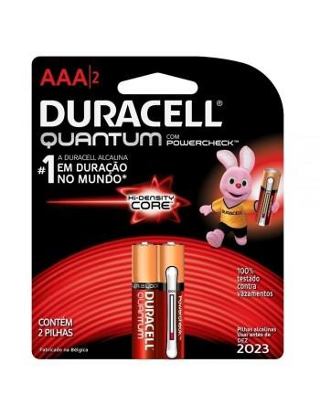 Pilha alcalina Duracell AAA Quantum - cartela com 2 unidades